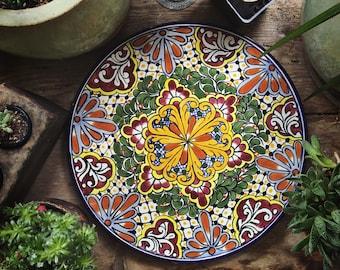 "14"" Diameter Talavera Plate Wall Hanging, Mexican Pottery, Rustic Decor, Mexican Folk Art, Boho Decor, Mexican Decor, Ceramic Plate"