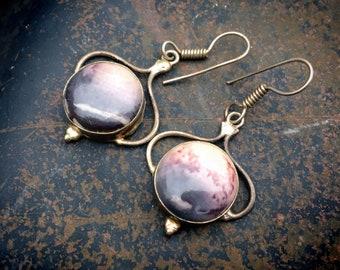 Vintage 925 Sterling Silver Pink Gray Rhodonite Drop Earrings for Women, Winter Jewelry Bohemian