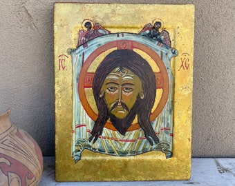 Vintage Religious Icon Decoupage Wood Wall Hanging with Gold Leaf by New Mexico Artist John Teel