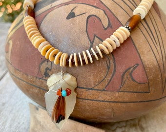 Orange Spiny Oyster Bead Necklace with Arrowhead Pendant, Shell Jewelry Native American