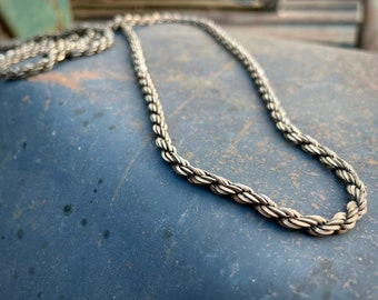 """Vintage 36"""" Heavy Sterling Silver Rope Chain Necklace Made in Italy, Unisex Silver Chain Chunky"""