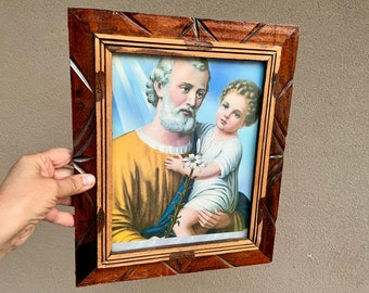 Vintage Lithograph Saint Anthony of Padua in Mexican Wood Carved Frame, Patron Find Something Lost