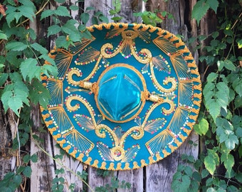 Authentic Large Mariachi Sombrero Hat Teal Blue Velvet with Golden Yellow Trim Mexican Decor
