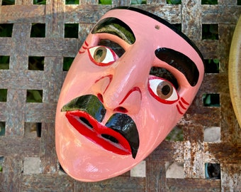 Carved Wooden Mask Wall Hanging Mexican Folk Art, Southwestern Bohemian Home Decor Eclectic