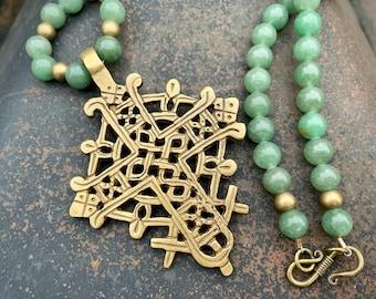 Vintage Brass Ethiopian Cross Pendant and Green Aventurine Bead Necklace, Tribal Nomad Jewelry