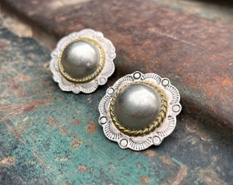 Vintage Taxco Mexico Clip On Sterling Silver Concho Button Earrings for Non Pierced Ears