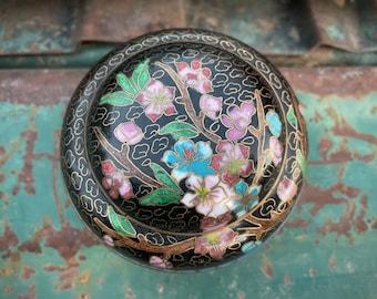 Miniature Chinese Cloisonne Lidded Bowl Black Pink Blossom Design, Enamel on Copper, Chinoiserie