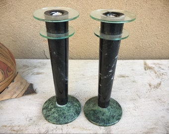 Pair of Vintage Post Modern Memphis Design Candle Holders Green Marble Acrylic, Mid Century Art Deco
