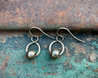 Small Silver Plated Hoop Earrings with Bead, Bohemian Boho Chic Jewelry Vintage Dangles
