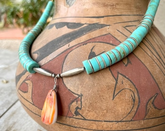 """1960s Turquoise Disc Heishi Necklace 23"""" with Spiny Oyster Shell Drop Pendant, Native American"""