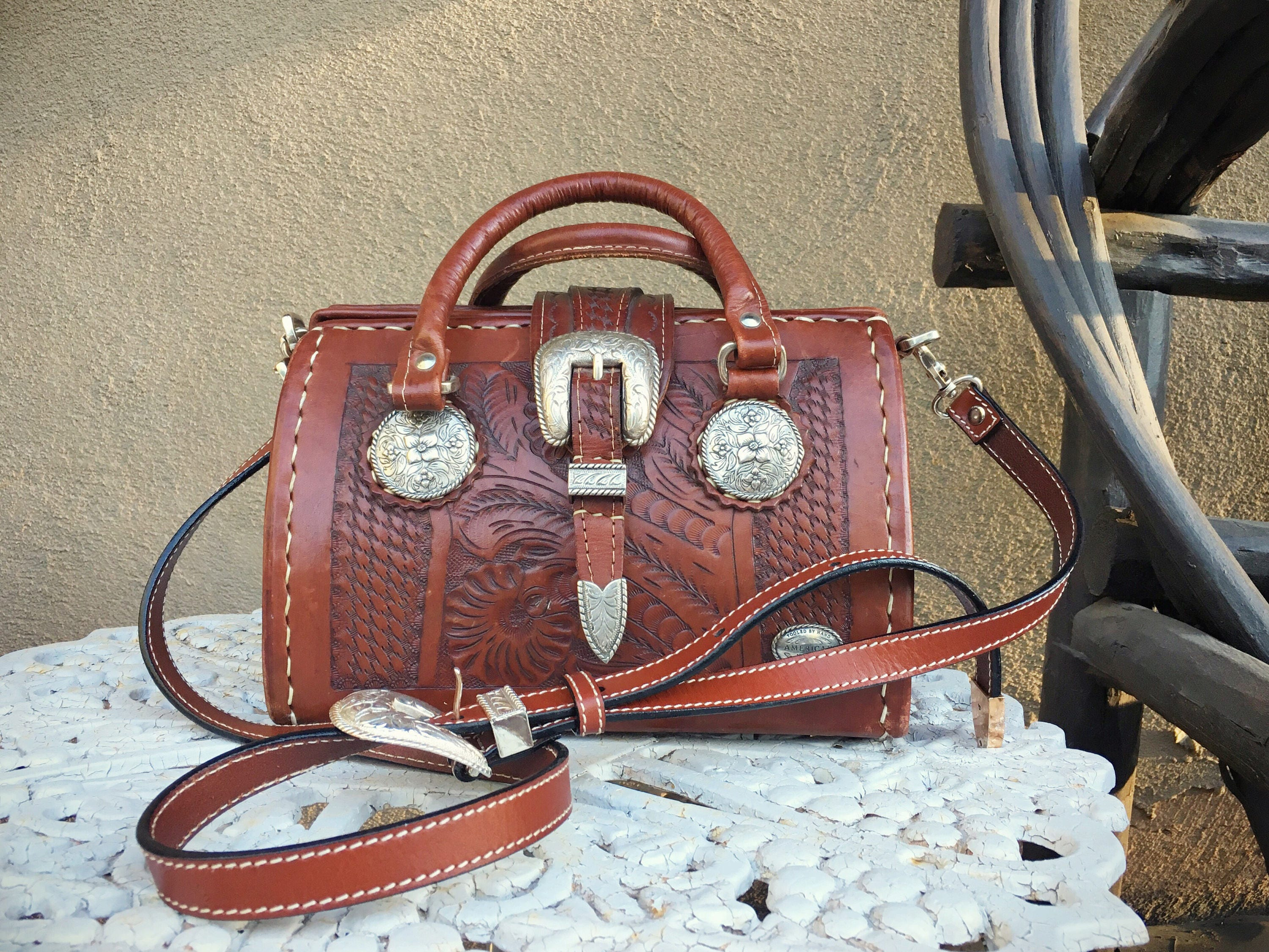 1980s American West hand tooled leather purse