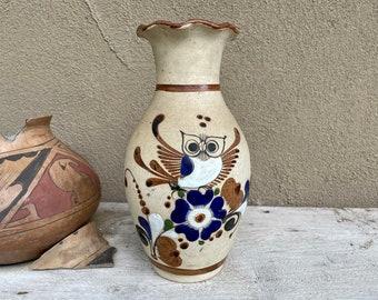 Tonala Stoneware Pottery Vase with Owl Design, Mexican Decor, Centerpiece for Southwestern Table