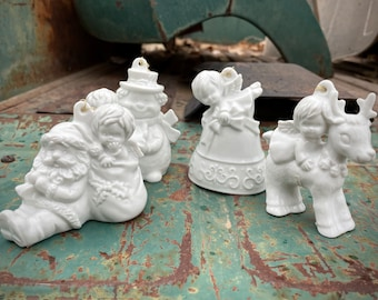 Four 1980 White Porcelain Christmas Angel Ornaments Made in Japan by Vandor Imports