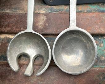 Midcentury Aluminum or Pewter Salad Server with Star Handle Design, Fork Spoon Serving Utensils