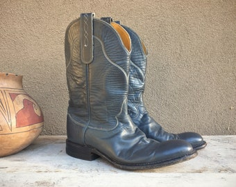 Vintage Cowboy Boots Women Size 7.5 Tony Lama Cowgirl Boots, Western Boots, Blue Gray Leather Boots, Short Boots, Womens Boot, Festival Boot