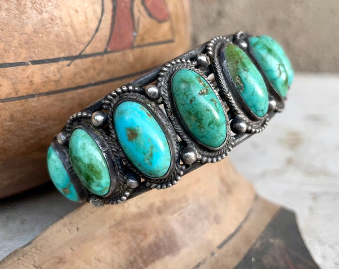 Featured listing image: Vintage Natural Turquoise Cuff Bracelet Size 7.25, Ingot Wire, Collectible Native American Jewelry