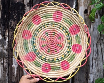 Vintage Faded Pink Green Coiled Straw Raffia Shallow Basket Wall Hanging, Bohemian Decor