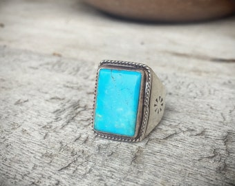 Turquoise Ring Size 7.5 Sterling Silver Turquoise Jewelry, Native American Ring, Turquoise Ring, Men's Jewelry, Gift for Men, Gift for Dad