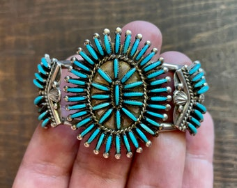 Zuni Ray & Eva Wyaco Turquoise Cuff Bracelet Needlepoint Setting, Native American Indian Jewelry