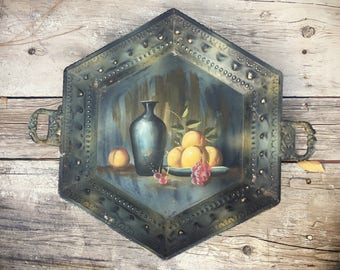 Large Metal Tray with Handles Still Life Painting, Garden Patio Decor, Farmhouse Decor, French Country Cottage Chic Decor, Table Centerpiece
