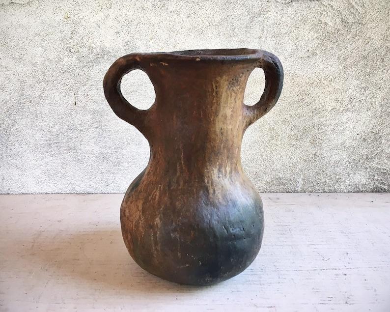 Housewarming Gift Southwestern Decor Cow Springs Brownware Pottery Vase Vintage Navajo Jug or Pot with Handles Native American Indian Art