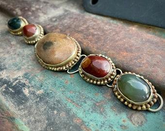 "Vintage Chunky Link Bracelet 6"" Tribal Silver Multistone Agate Multi Color, Bohemian Jewelry"