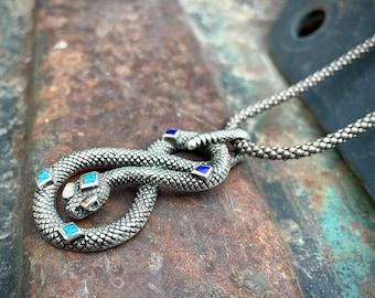 Vintage Sterling Silver Rattlesnake Pendant Inlaid Turquoise Lapis (Block Enamel) on Popcorn Chain