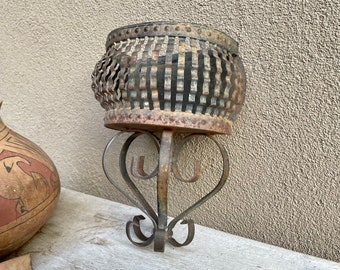 Rustic Distressed Metal Hanging Wall Basket, Cut and Crimped Tin, Vintage Southwestern Farmhouse