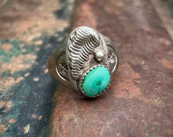 Sterling Silver Vintage Turquoise Ring Men's Size 10.25, Navajo Native American Indian Jewelry