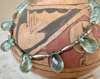 "Vintage German Silver Light Blue Faceted Bead Necklace 19"", April Birthstone Aquamarine Color"