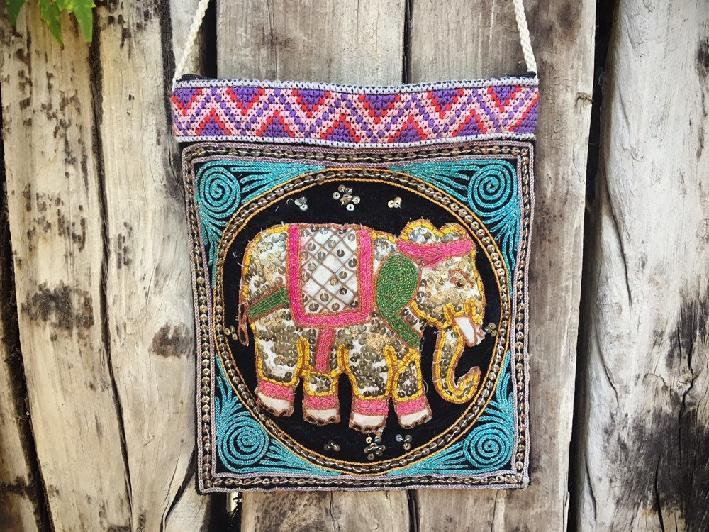 gallery photo ... & Vintage Sequined Elephant Fabric Purse Gift for Hippie Mom Ethnic ...