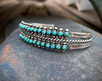 Fred Harvey Era Two Row Zuni Snake Eye Turquoise Cuff Bracelet, Vintage Native American Jewelry