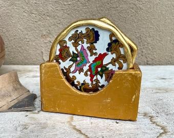 Set of Three Mismatched Reverse Painted Coasters Peruvian Folk Art, Southwestern Decor Boho