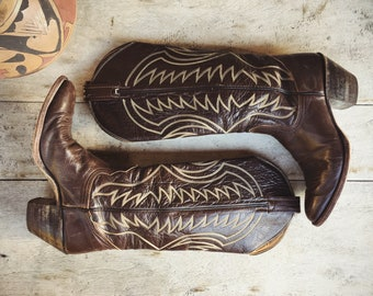 Vintage Cowboy Boot for Women Size 7 A (Runs Narrow Small) Brown Leather Nocona Tall Cowgirl Boot