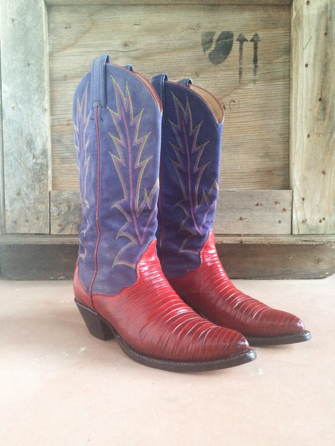 726fc2f48f7 Vintage Women's Cowboy Boots Lizard Skin Red Cowgirl Boots with ...