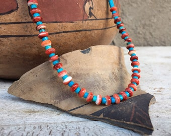 """Spiny Oyster Bead Turquoise Heishi Necklace 17"""" for Women, Native American Indian Jewelry Southwest"""