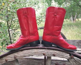 Vintage Women's Size 6 B red cowboy boots Tony Lama Roper cowgirl boots