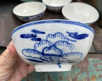 "Four Vintage Earthenware Anamese Ceramics Stoneware Bowls 6"" Diameter, Antique Vietnamese Pottery"