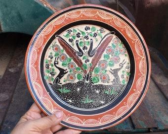 Vintage Mexican Pottery Plate by Master Potter Jose Bernabe, Redware Folk Art, Southwestern Decor