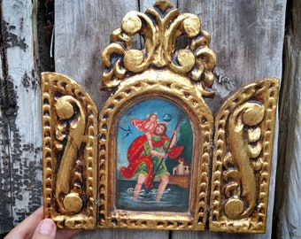 Small Cuzco Peru Painting Saint Christopher in Gilt Wood Triptych Frame Wall Hanging, Religious Art