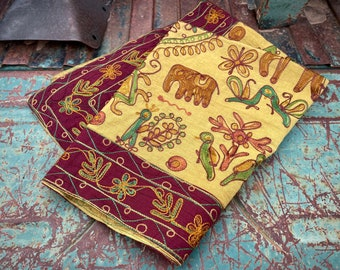 Vintage Embroidered Cotton Fabric Tapestry Wall Hanging, Made in India, Bohemian Decor Elephants