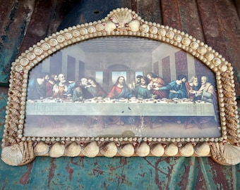 Distressed Antique Seashell Encrusted Framed Last Supper Lithograph Wall Hanging, Victorian Decor