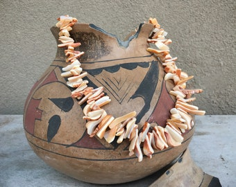 Orange Spiny Oyster Chunky Necklace Organic Natural Beads for Supply, Shell Jewelry
