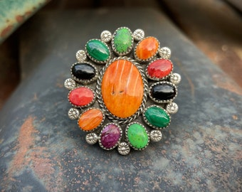 Size 8 Cluster Ring Orange Spiny Oyster Multi-Stone Turquoise, Navajo Native American Jewelry
