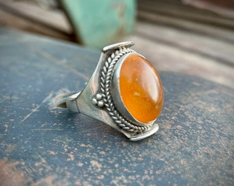 Vintage Tibetan Saddle Ring Amber Sterling Silver Size 8.75, Tribal Jewelry, Mother's Day Gift