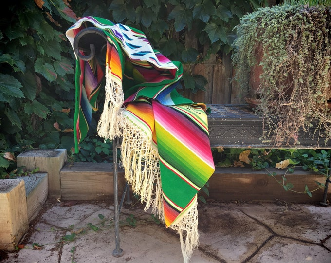 Featured listing image: 1940s Mexican Saltillo serape blanket wool and silk Southwestern decor Mexican throw