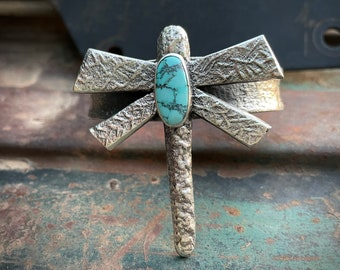 Navajo Tufa Cast Dragonfly Cuff Bracelet Size 6-1/8, Sterling Silver Spiderweb Turquoise Jewelry
