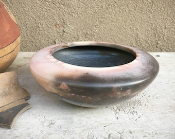 Signed Bettye Barclay Pottery Bowl Modernist Sagger Fired Pink Purple Color, Art Studio Sculpture