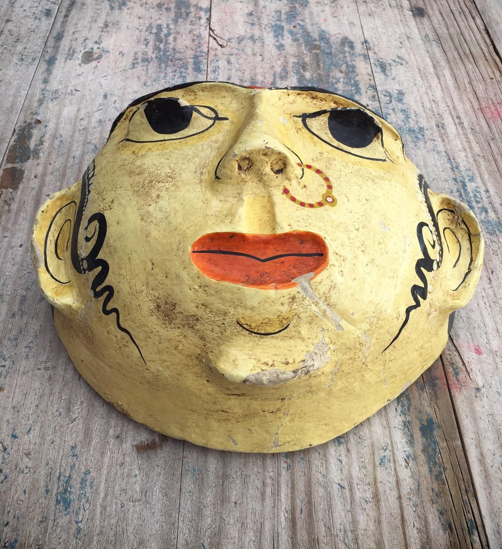 Large vintage Indian paper mache mask, handmade hand-painted folk ...