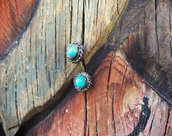 Vintage Turquoise Earrings Sterling Silver, Native America Indian Jewelry, Small Studs